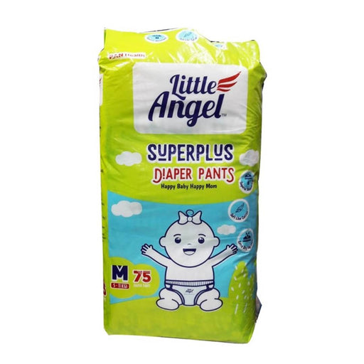 Pack of 75 Pcs Little Angle Anti Bacterial Super Absorbing Pant Style Unisex Baby Diapers