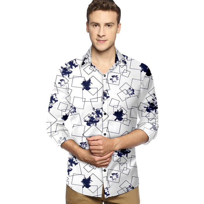 Men's White Cotton Printed Long Sleeves Slim Fit Casual Shirt