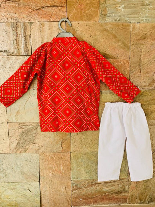 Smart Red Bandhani Kurta Pyjama Set For Boys