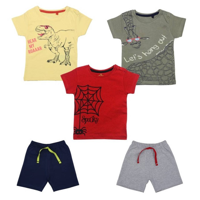 Elegant Printed Cotton Boys T-Shirts with Shorts(5 Pieces)
