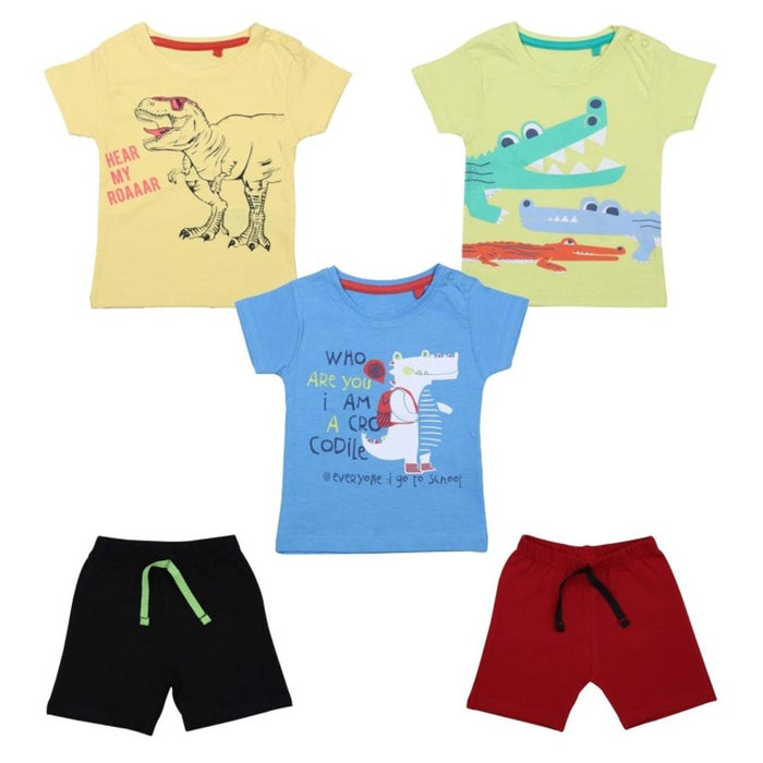 Elegant Printed Cotton Infant Boys T-Shirts with Shorts(5 Pieces)