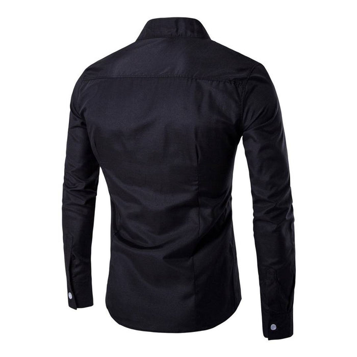 Men's Black Cotton Solid Long Sleeves Slim Fit Casual Shirt