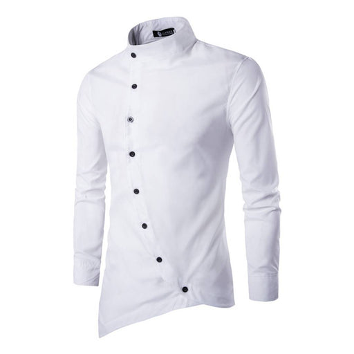 Men's White Cotton Solid Long Sleeves Slim Fit Casual Shirt