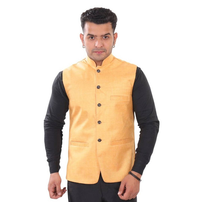 Men's Golden Cotton Blend Solid  Sleeveless Nehru Jackets