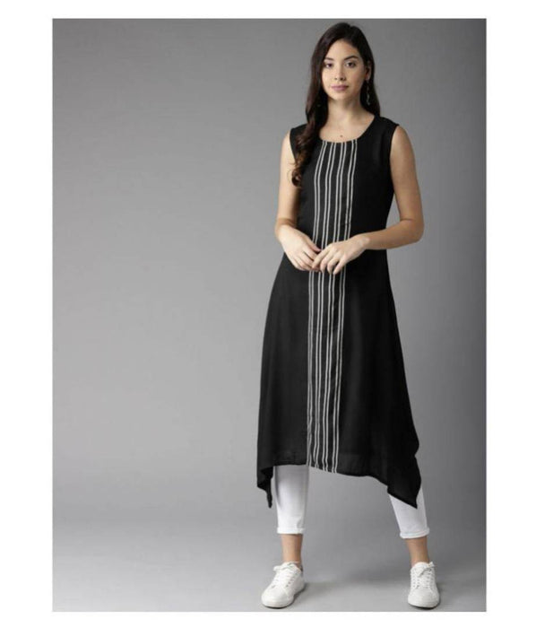 Reliable Black Striped Crepe Women A-Line Kurti