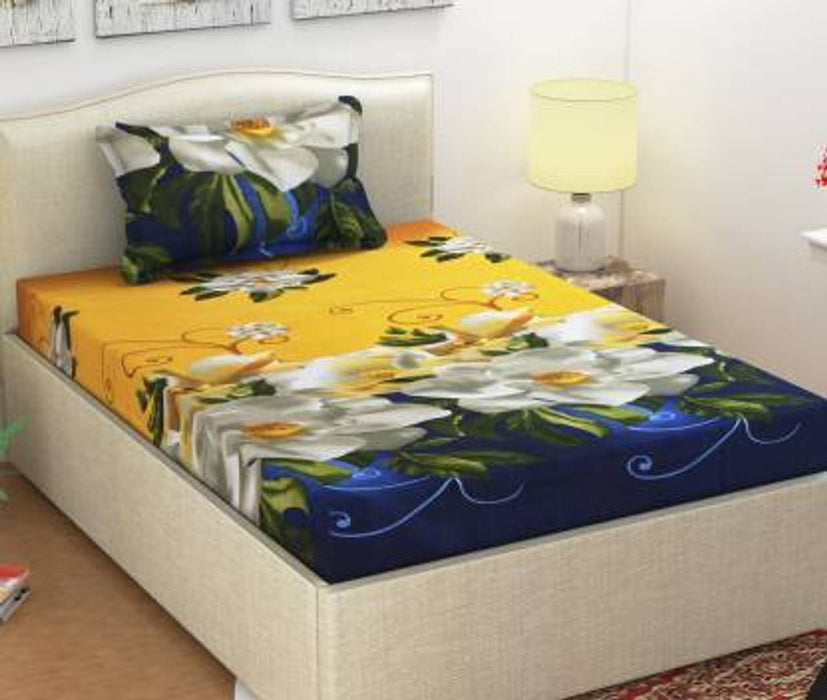 Attractive 3D Printed Bedsheet And Pillow Covers (Thread Count - 170)