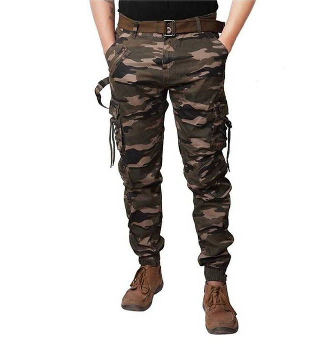 Men's Multicoloured Camouflage Print Cotton Cargo Pants