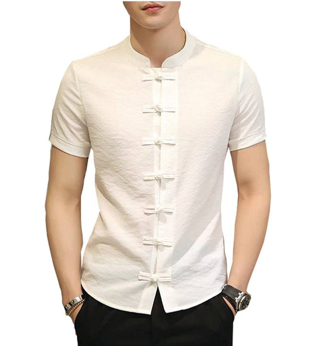 Men's White Cotton Solid Short Sleeves Slim Fit Casual Shirt