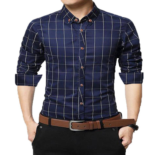 Navy Blue Checked Cotton Slim Fit Casual Shirt