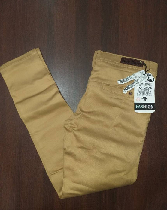 Men's Beige Cotton Blend Solid Mid-Rise Slim Fit Regular Casual Trouser