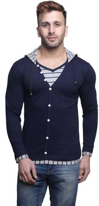 Men's Navy Blue Cotton Solid Hooded Tees