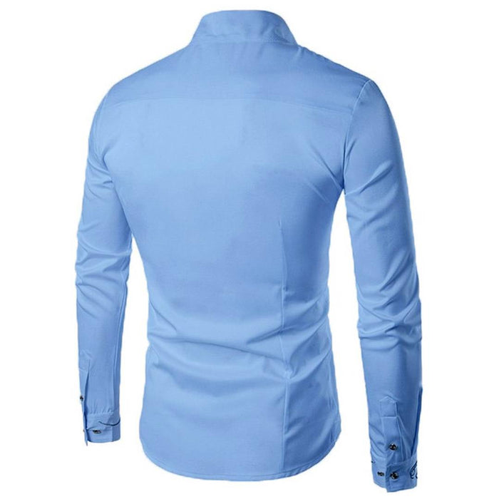 Men's Blue Cotton Blend Solid  Long Sleeves Slim Fit Casual Shirt