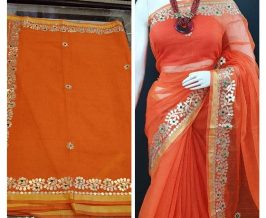 Kota Doria Cotton Saree with Gotta Patti Work