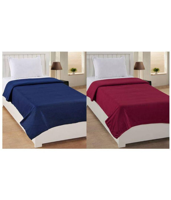 Multicoloured Polyester Single Blanket For Your Home (Pack Of 2)