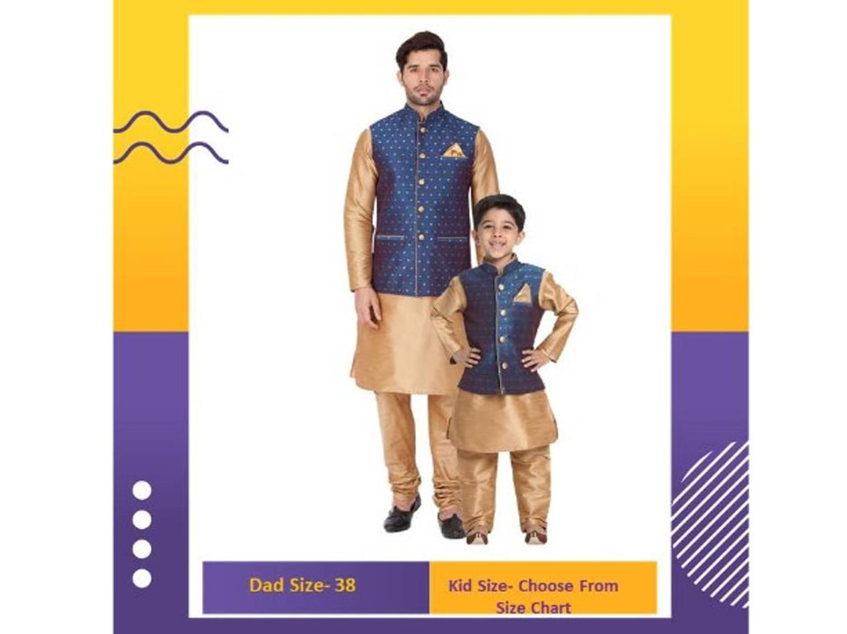 Vastramay Baap Beta Deep Blue Kurta Waistcoat and Pyjama Set (Man-38 Size / Boy-6-12 Months)