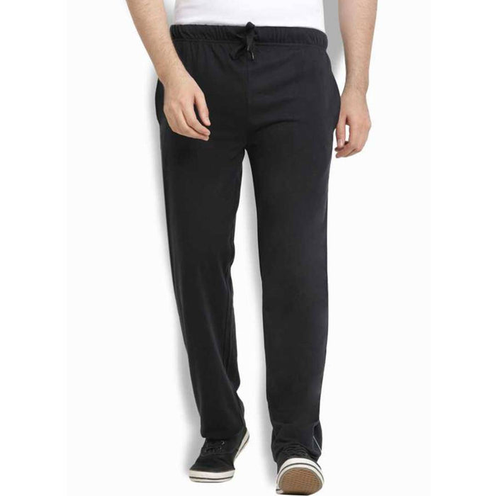 Men's Black Cotton Self Pattern Regular Fit Track Pant