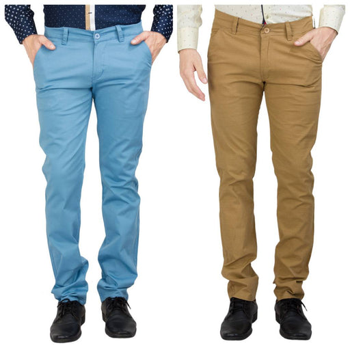 Men's Western Wear Multicoloured Cotton Blend Casual Trousers (Pack of 2)