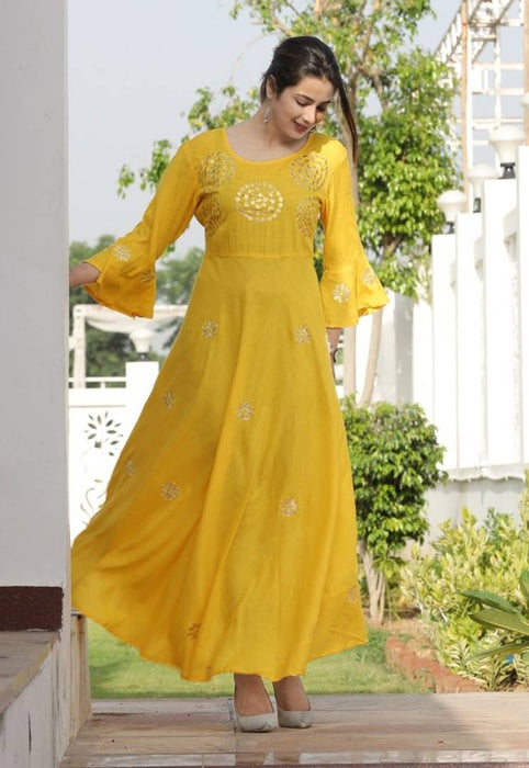 Elegant Yellow Rayon Gotta Patti Handwork Women Anarkali Kurti