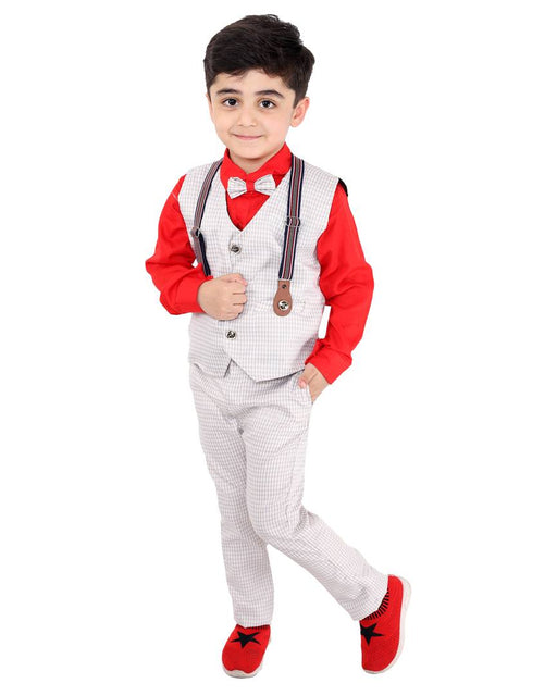 Boy's Self Pattern Red Cotton Blend Clothing Set