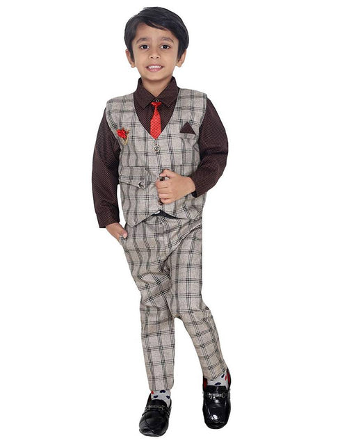 Boy's Self Pattern Brown Cotton Blend Clothing Set