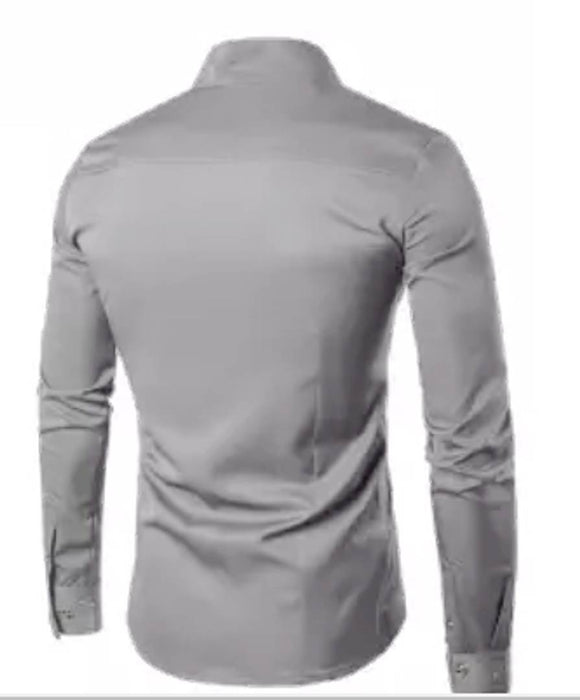 Men's Grey Cotton Blend Solid Long Sleeves Slim Fit Casual Shirt