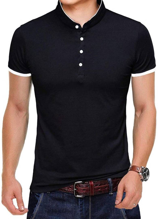 Black Cotton Solid Henley Tees