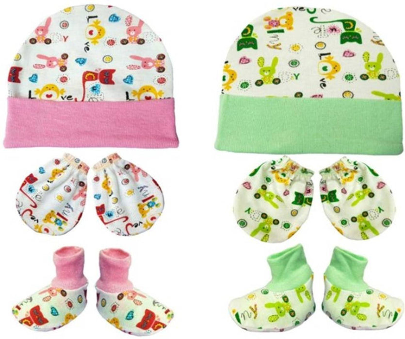 Infants Cotton Printed Booties & Caps (Pack Of 2)