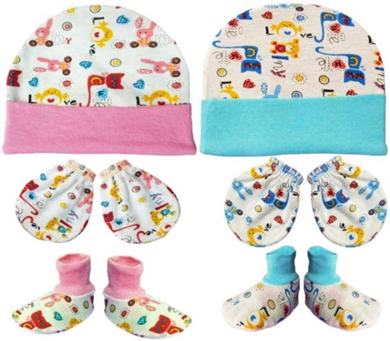 Infants Cotton Printed Booties & Gloves With Caps (Pack Of 2)