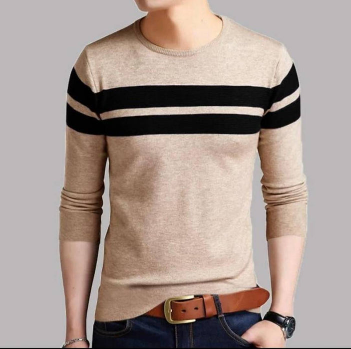 Men's Beige Cotton Self Pattern Round Neck Tees