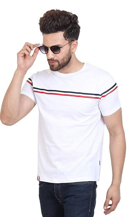 Men's White Cotton Self Pattern Round Neck Tees
