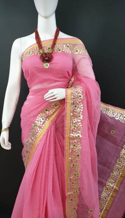 Attractive Kota Doria Saree With Blouse Fancy Gotta Patti Work