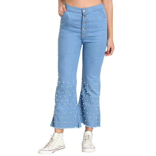 Light Blue Pearl Embellished Flared Jeans