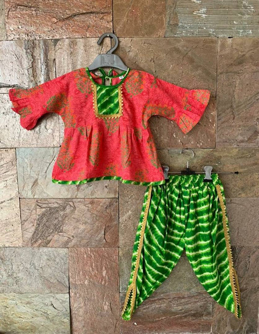 Designer Peach Peplum Green Dhoti Set For Girls