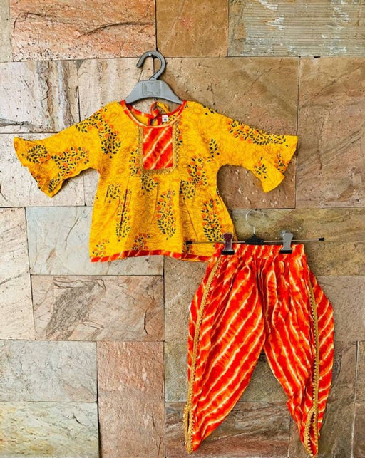 Designer Yellow Peplum Orange Dhoti Set For Girls