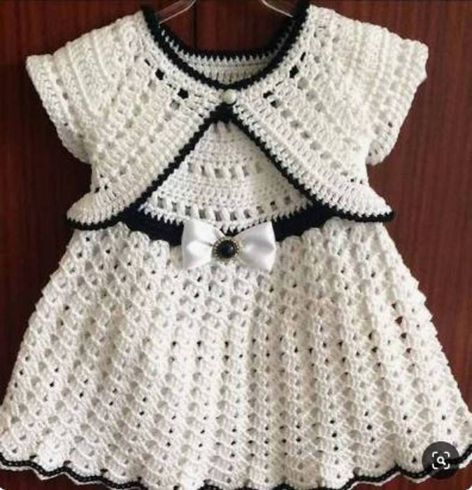 Lil Orchids Funky White Woolen Kids Dress