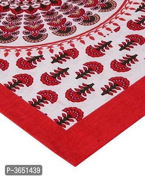 Latest Red Cotton Abstract Double Bedsheet with 2 Pillow Covers