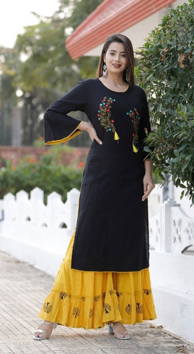 Expressive Style Black Embroidered Rayon Slub Women Kurta Sharara Set