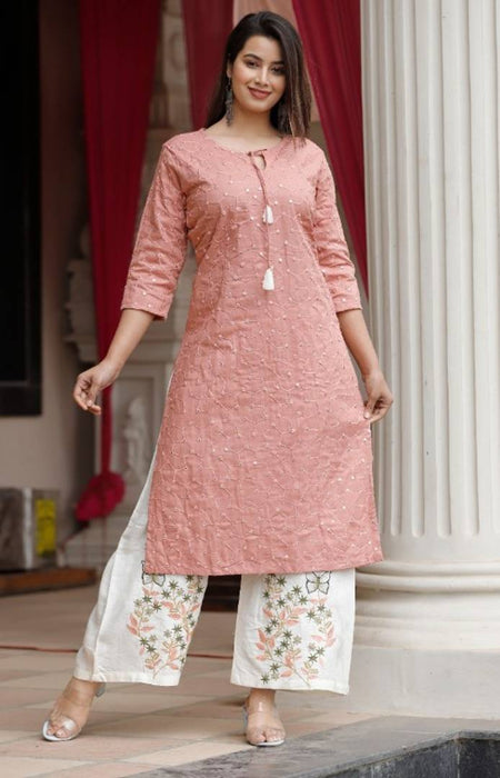Contemporary Peach Rayon Slub Embroidered Women Kurta Palazzo Set