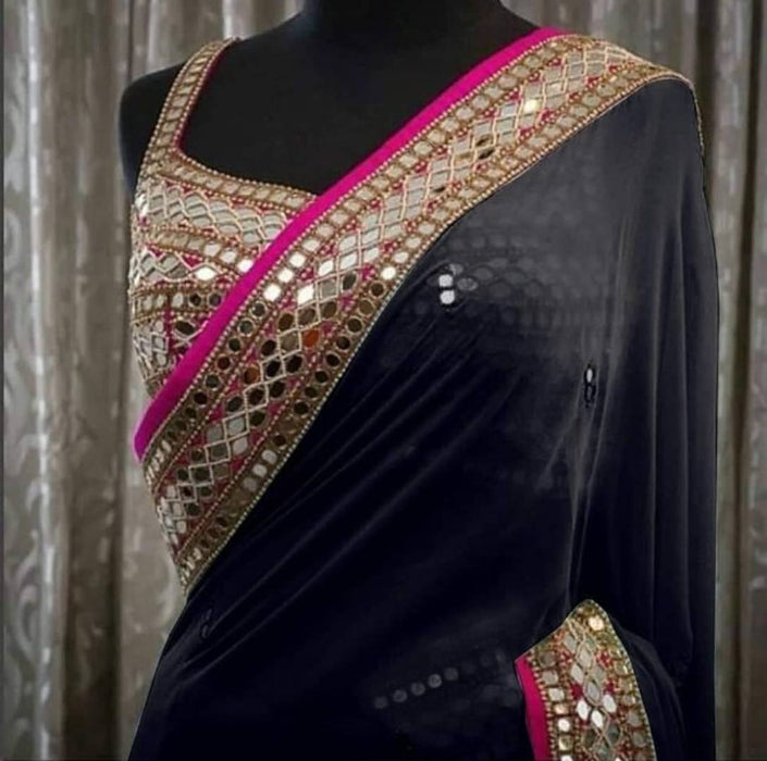 Attractive Georgette Saree with Blouse piece