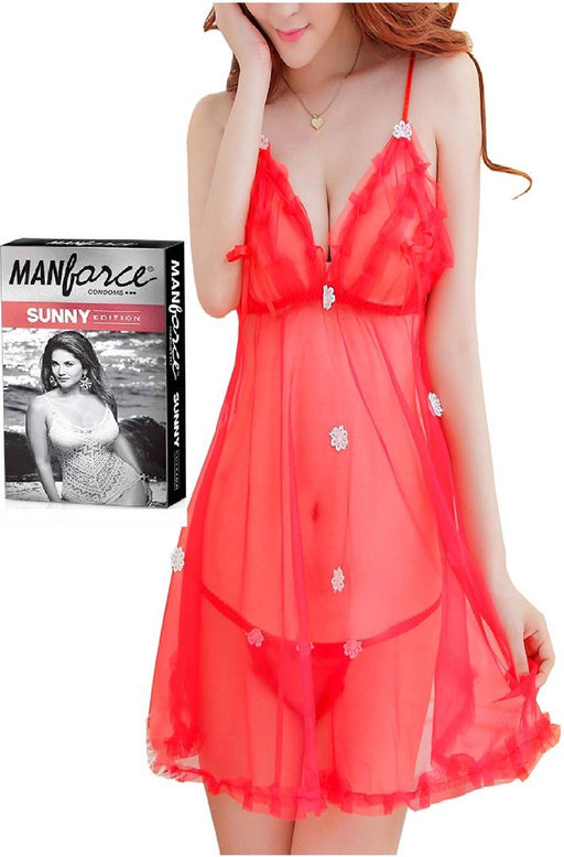 Exotic  Sexy Night Dress / Baby Dolls With Free Manforce Condoms (Red)