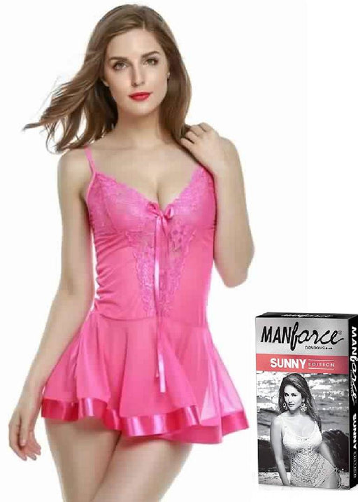 Floral Print Sexy Night Dress / Baby Dolls With Free Manforce Condoms (Pink)