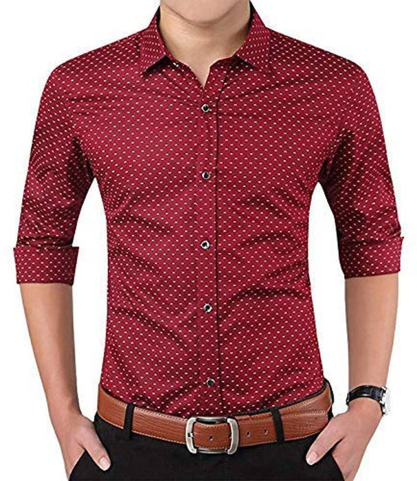 Men's Maroon Cotton Printed Regular Fit Casual shirts