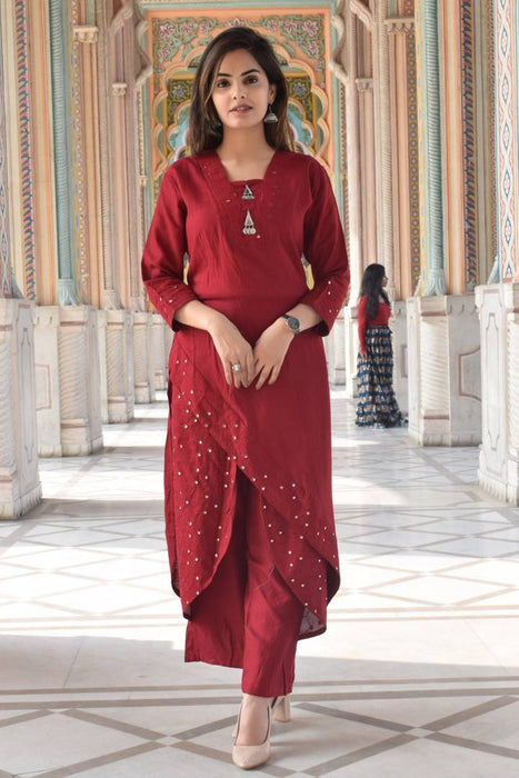 Elegant Red Embroidered Rayon  Kurti Palazzo Set For Women