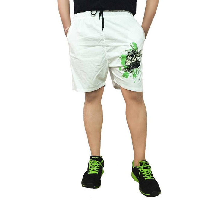 Men's Printed Cotton Short- White