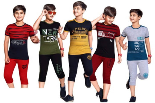 SK NAREN Stylish Cotton Three-Fourth Pant With Matching Tees For Boys & Girls, Pack Of 5, Multicolored - JASPER   SET