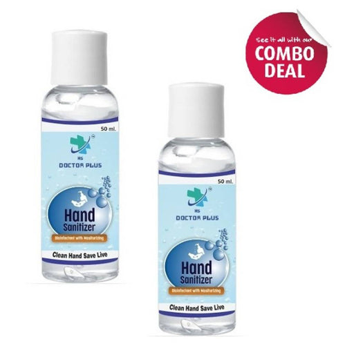 HS Doctor Plus Hand Sanitizer Soothing Gel with Triple Action Moisiturizers (50ml) Pack of 2
