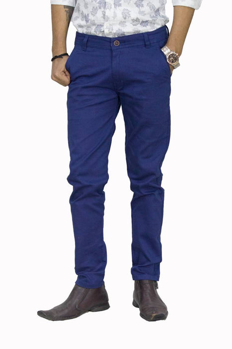 Men's Blue Cotton Mid-Rise Formal Trouser
