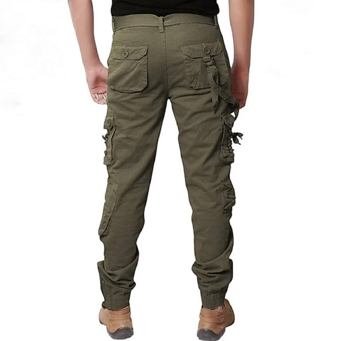 Men's Green Cotton Solid Regular Fit Cargo