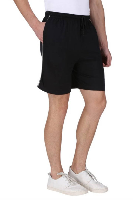 Men's Cotton Long Shorts for All Fitness Activities. (BLACK).