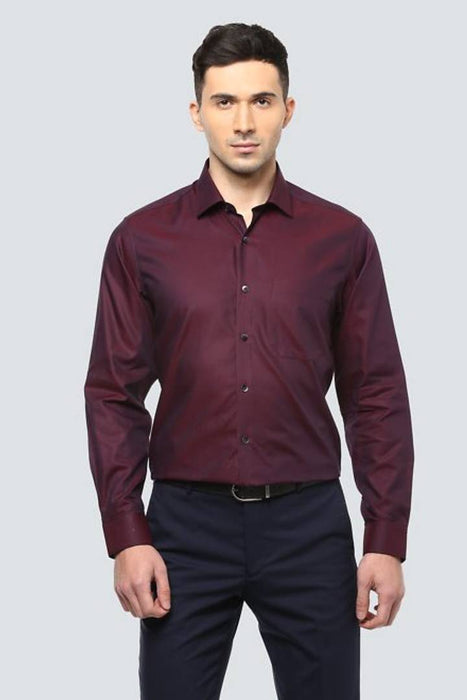 Maroon Solid Cotton Slim Fit Formal Shirt